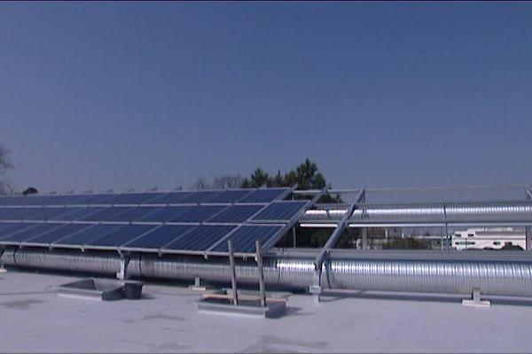 Les panneaux solaires de la société Base, située à Canéjan