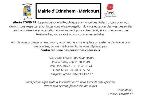 Un service de coursiers a été proposé aux personnes âgées de la commune d'Etinehem-Méricourt, dans la Somme.