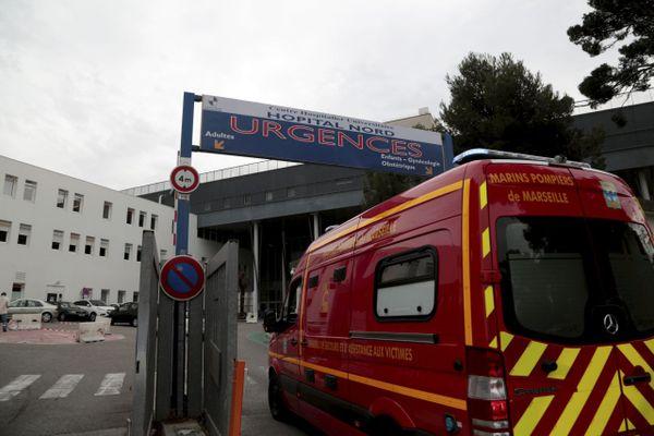 Entrée du service des urgences de l'hôpital Nord à Marseille (Bouches-du-Rhône).
