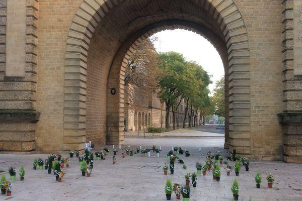 Des fleurs en hommage aux victimes des attentats déposées hier soir à Metz Porte Serpenoise