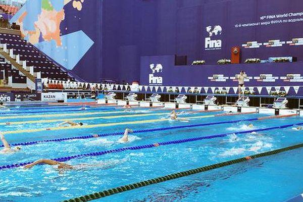 L'entraînement dans le bassin à Kazan.