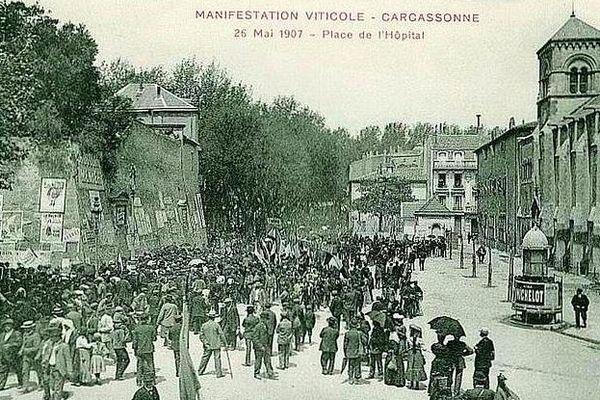 Carcassonne - la manifestation des vignerons - 25 mai 1907.