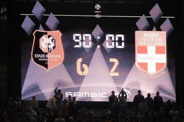 Evian a pris trois buts dans chaque mi-temps, à Rennes samedi 16 août.