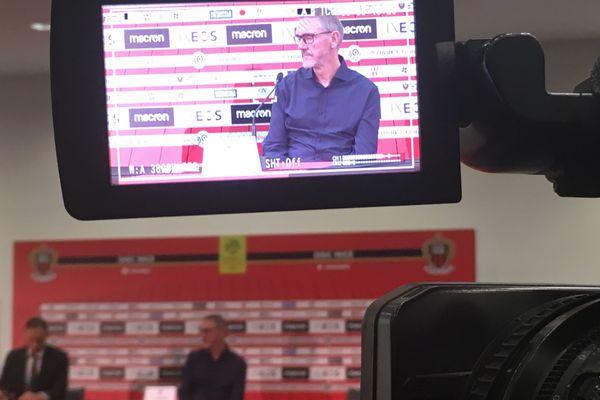 Conférence de presse au centre d'entrainement de l'OGC Nice ce mardi 27 août.