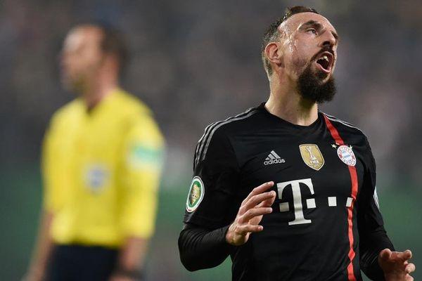 Franck Ribéry lors du match de football entre le Bayern Munich et Hambourg, le 29 octobre 2014 à Hambourg.