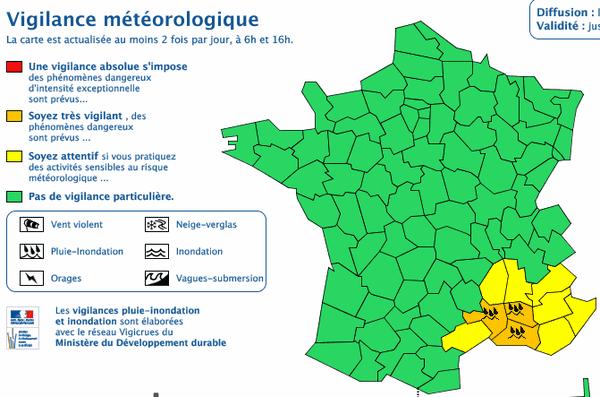 La carte de France de vigilance météorologique - 12 octobre 2015