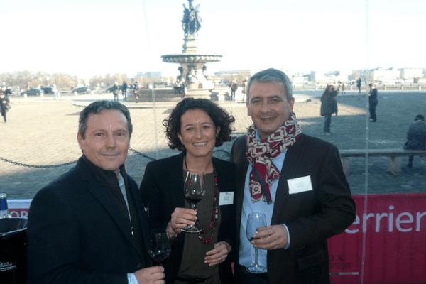Lionel Lateyron (crémants Lateyron), Sylvie Courselle (château Thieuley) et Hervé Grandeau (château Lauduc), à Bordeaux Tasting