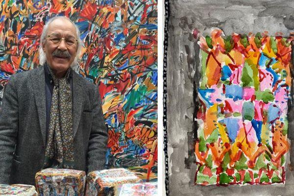 Mahjoub Ben Bella dans son atelier, 2018 / Dernière œuvre de Mahjoub, 2 juin 2020