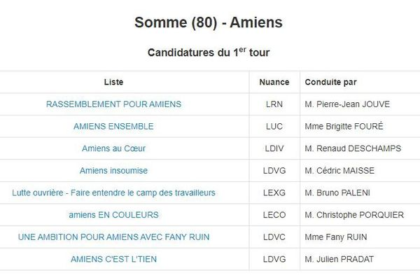 Les candidats aux élections municipales 2020 à Amiens