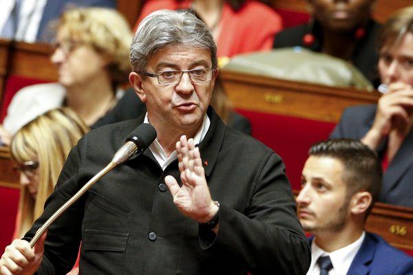 Le député de Marseille, Président du Groupe La France Insoumise, Jean-Luc Mélenchon, à l'Assemblée Nationale
