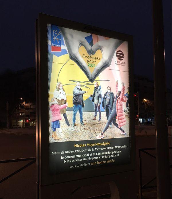 Janvier 2021- Affiche des voeux 2021 du maire de Rouen  et président de la métropole