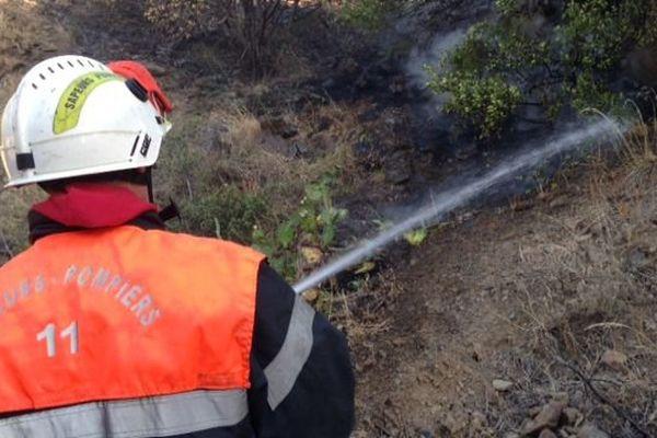 Les pompiers luttent depuis jeudi soir pour arrêter l'incendie à Cerbère dans les Pyrénées-Orientales. 18 septembre 2015.