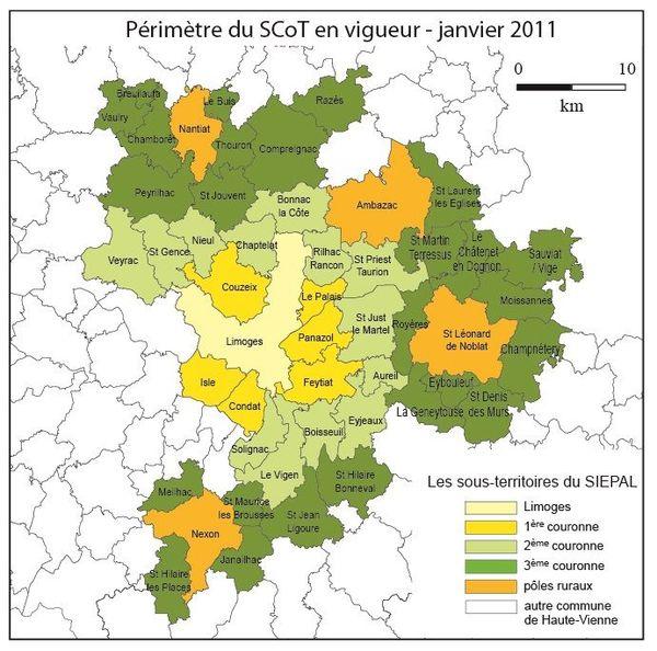 Le périmètre du SCoT de Haute-Vienne actuel.