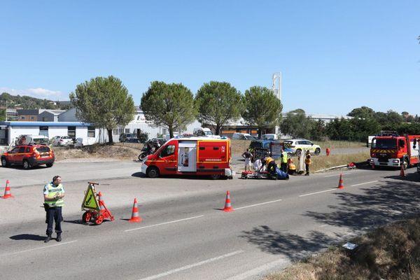 Gard : un accident entre une moto et un scooter fait 2 blessés dont un grave à Bagard près d'Alès - 13 juillet 2020.