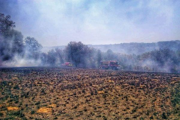 Le 6 août 2020 à Chéniers, les pompiers ont maîtrisé un feu de broussailles sur près de 20 hectares.