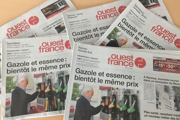 Quelques éditions Ouest-France du 19 septembre 2018