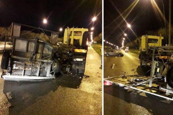 Un véhicule d'intervention de Vinci Autoroutes a été percuté sur l'autoroute A64 dans la nuit de lundi à mardi.