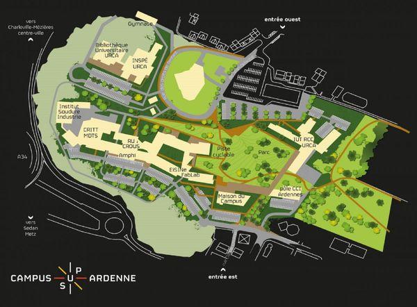 Plan du  Campus Sud Ardenne