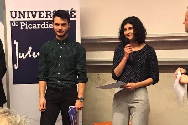 Romain Ulmer et Nour Daher, les deux lauréats de la finale Hauts-de-France 2019 du concours Ma thèse en 180 secondes
