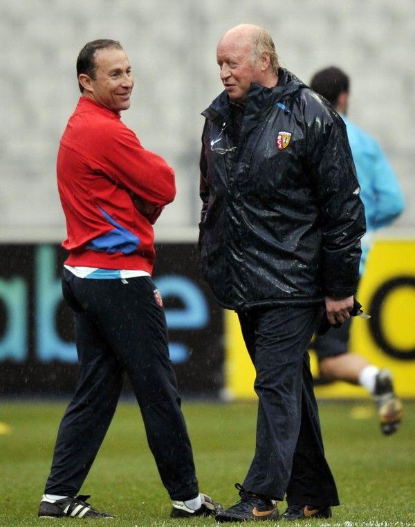 Daniel Leclercq et Jean-Pierre Papin à Lens en 2008.