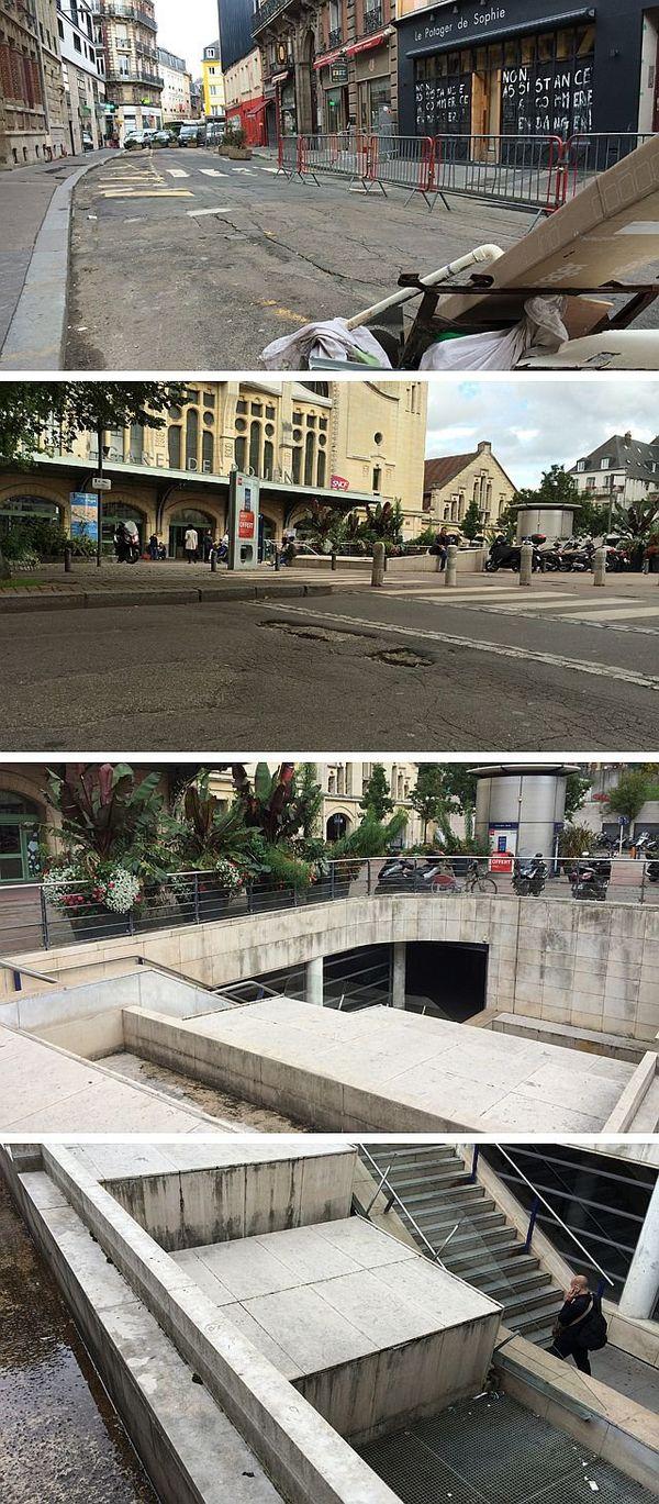 Rue Verte, chaussée devant la gare et entrée de la station de métro