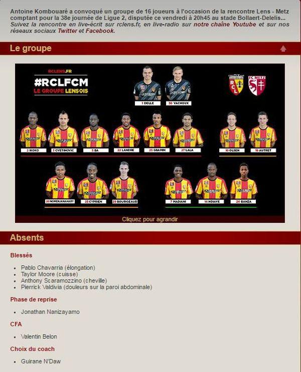 Le groupe lensois. Capture d'écran site officiel du RC Lens.