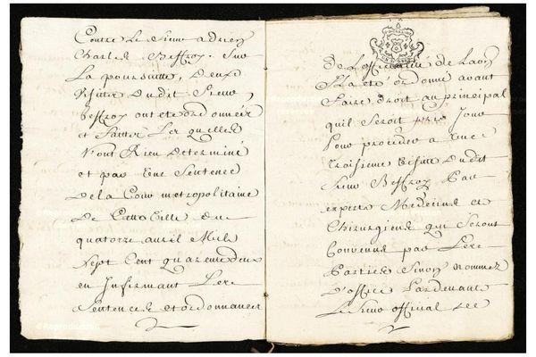 Un extrait des registres du greffe relatif à la cassation du mariage de Catherine Cordien et Adrien Charles Beffroy.