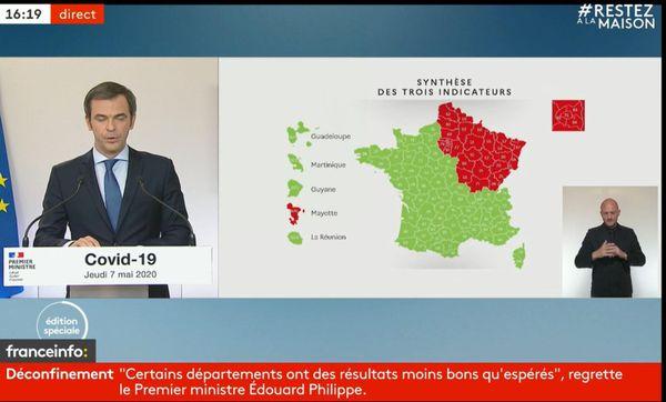 La carte sanitaire du déconfinement présentée le 7 mai par Olivier Véran.