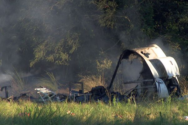Sainte-Marie-la-Mer (Pyrénées-Orientales) - des caravanes brûlées après un incendie - 4 août 2020.