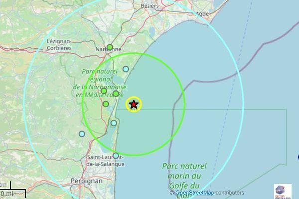 L'épicentre du séisme d'une magnitude de3,8 sur l'échelle de Richter a été localisé en mer à 16 kilomètres au sud-est de Narbonne.
