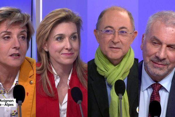 Les 4 candidats au 2nd tour des municipales 2020 à Avignon sur le plateau de France 3 Provence-Alpes