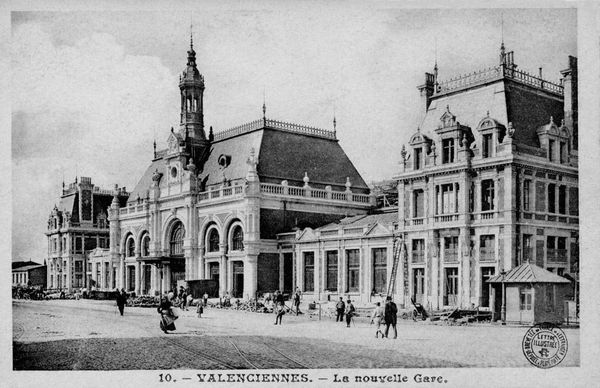 La nouvelle gare de Valenciennes, construite en pierre, en 1909.