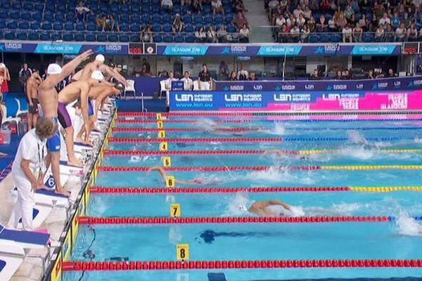 Première série du 4x200 m nage libre lors des championnats d'Europe de Glasgow le 5 août 2018