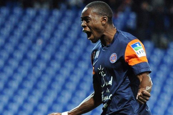 Montpellier : Jonathan Tinhan, buteur du match à la 61e minute qualifie le MHSC en 1/4 de finale de la coupe de la ligue - 31 octobre 2012.