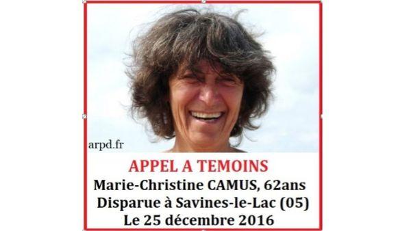 L'appel à témoins publié après la disparition de Marie-Christine Camus, en décembre 2016.