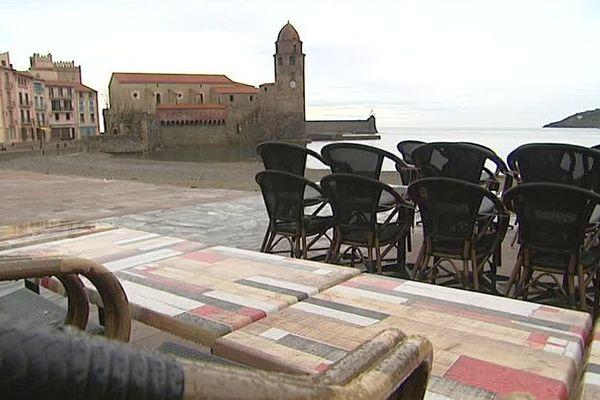 Collioure (Pyrénées-Orientales) - terrasse et vue sur mer - janvier 2017.