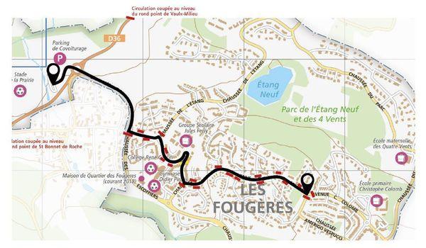 Le parcours de la marche blanche en hommage à Victorine Dartois ce dimanche 4 octobre à Villefontaine en Isère.