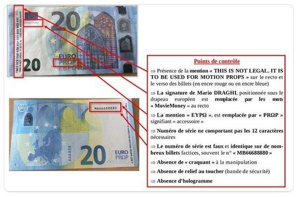 Movie Money - Points de contrôle pour détecter les faux billets.