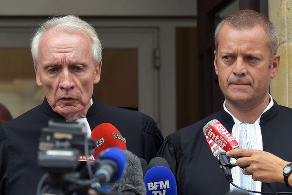 Les avocats de Murielle Bolle Me Jean-Paul Teissonière et Me Christophe Ballorin, en août 2017.
