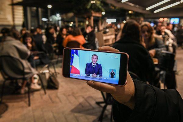 Allocution d'Emmanuel Macron le 28 octobre 2020. Le président de la République a annoncé un reconfinement de la France à partir de vendredi 30 octobre.