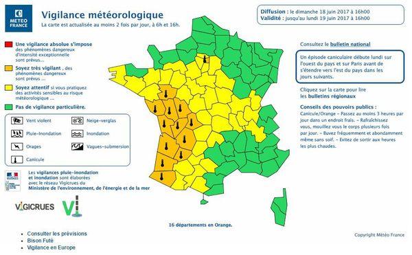 MétéoFrance active la vigilance orange sur 16 départements de l'Ouest de la France