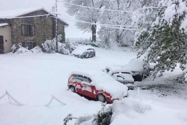Entre 10 et 15 centimètres de neige lourde recouvrent le plateau du Deves (1200 m) au sud de la Haute-Loire ce dimanche matin.