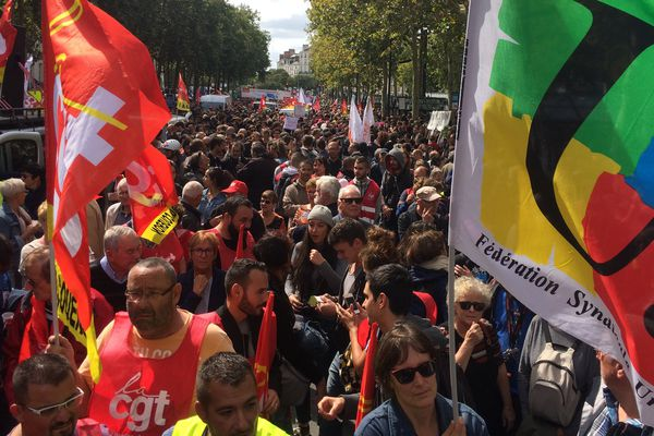 Les opposants à la réforme du Code du travail le 12 septembre 2017 à Nantes