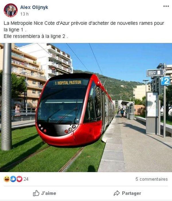 Capture d'écran d'une publication sur le réseau social Facebook.