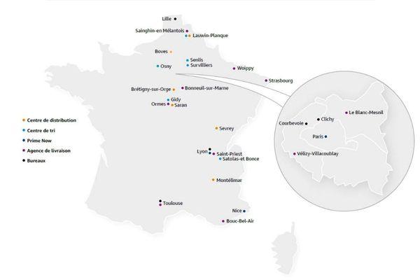 La carte des sites d'implantation d'Amazon en France (en mai 2020). Le géant américain ne dispose que de deux agences de livraisons dans le Grand Est.
