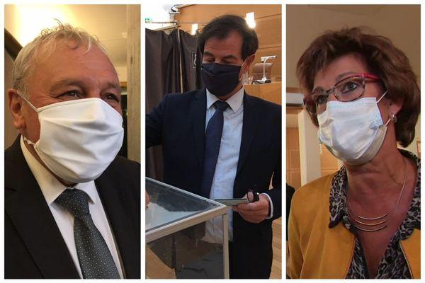 Jean-François Longeot (UDI), Jacques Grosperrin (LR) et Annick Jacquemet (DVD) le 27 septembre 2020 à Besançon