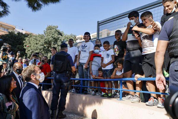 01/09/2021. Emmanuel Macron venu rencontrer les habitants désespérés de Bassens à Marseille.