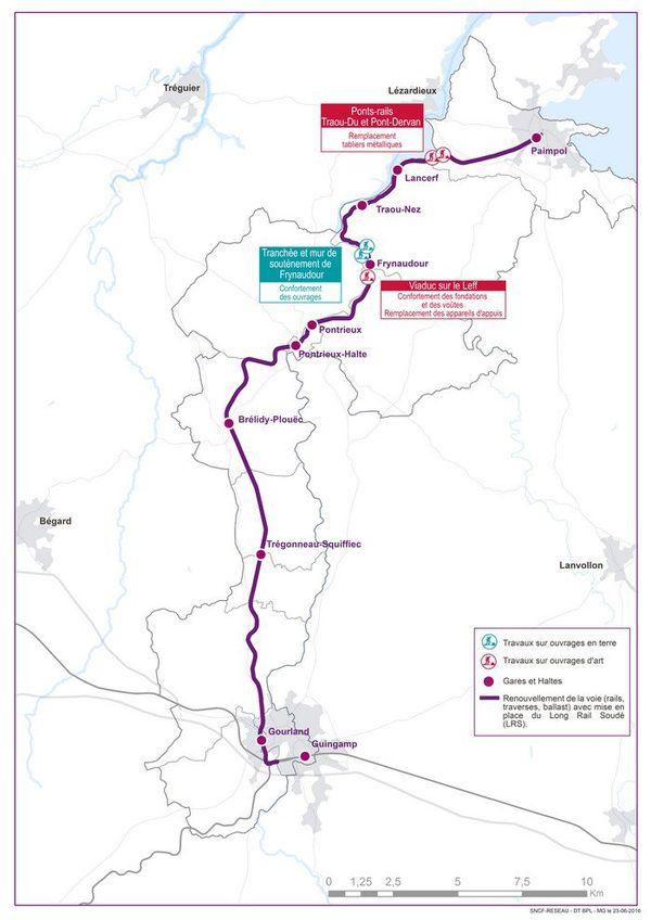 Carte des travaux de renouvellement sur la ligne Guinganp - Paimpol