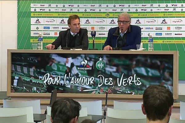 Roland Romeyer et Bernard Caïazzo ont dévoilé leur plan d'action lors d'une conférence de presse à l'issue du match ASSE-AS Monaco le 14 décembre 2017