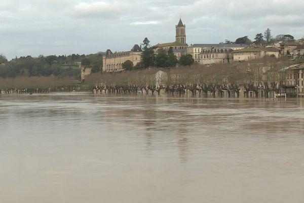 La Réole en Gironde a été inondée après le passage de la tempête Justine, mardi 2 février 2021.